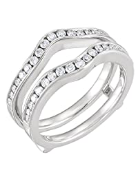 1/2ct 0.50ct Channel Set Solitaire Enhancer Simulated Lab Created Diamonds Ring Guard Wrap White Gold Plated