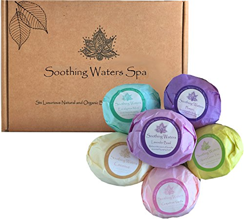 Image of the Organic & Natural Vegan Soothing Waters Spa Bath Bomb Fizzies Gift Set- Moisturizes Dry Skin w/Ultra Lush Shea and Coco Butter & Essential Oils. Best birthday gift idea for women, girlfriend, him, her