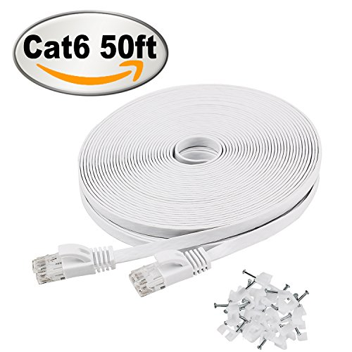 Cat 6 Ethernet Cable 50 ft White – Flat Internet Network Cable– Jadaol Cat 6 Computer Cable With Snagless Rj45 Connectors – 50 feet White (15 Meters) 5e Communications Cable
