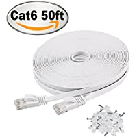 Cat 6 Ethernet Cable 50 ft White – Flat Internet Network...