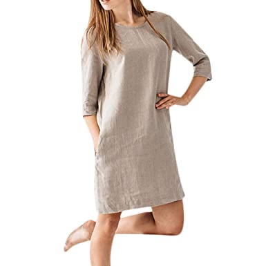 86a4b6477c0 TUDUZ Womens O Neck Slim fit Robe mi-Longue Ample en Coton et Lin  décontracté