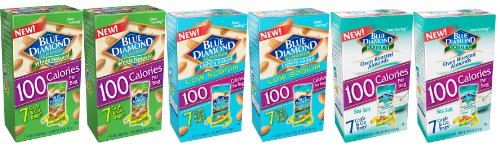Blue Diamond Almonds 100 Calorie Packs - 3 VARIETY FLAVORS (Box of 42 / .6-Ounce Small Grab and Go bags)