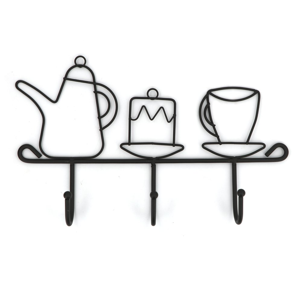 OMMITO Hooks Rack Hanger, Wall Hooks Kitchen Home Restaurant Keys Coats Cups Decorative Decor Wall Mounted Iron Small