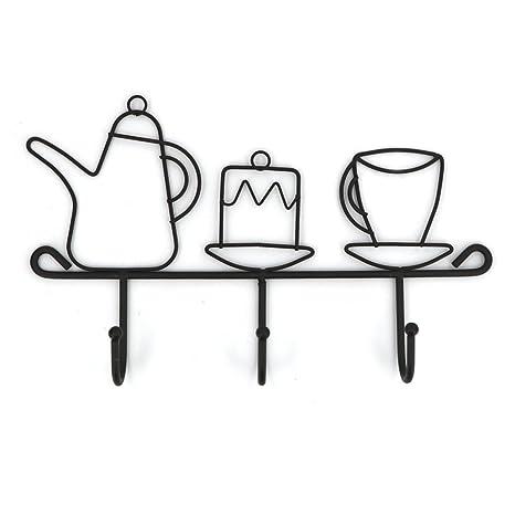 Ommito - Perchero de hierro con 3 ganchos para colgar en la pared, ideal para