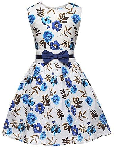Cm Kid Little Girls Dress Flower Print Sleeveless Bow Tie Party Sundress For Kids 2 7 Years  4 5 Years  Blue
