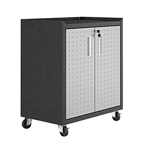 Manhattan Comfort 3GMCC Fortress Rolling 2 Door Garage Storage Cabinet Black/Gray