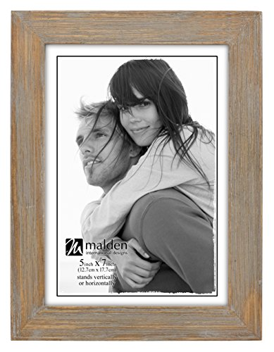 Malden International Designs Linear Rustic Wood Picture Frame, 5x7, Driftwood - Picture Frames Wholesale