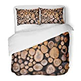 SanChic Duvet Cover Set Silver Lodge Firewood Wood Hunting Fireplace Country Decorative Bedding Set with Pillow Sham Twin Size