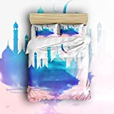 Pretty Lee Islamic Style Illustrator Duvet Cover Set 4PCS with 2 Pillowcase 1 Bed Sheet 1 Duvet Cover