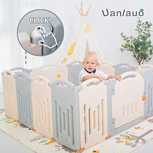 Uanlauo Foldable Baby Playpen Safety Play Yard for Toddler, Kids Activity Centre Indoor or Outdoor(14 Panel) (Grey)