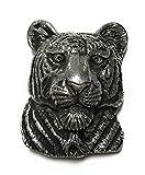 Tiger Head Belt Buckle, Silver-tone, 3-dimensional