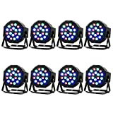 Missyee Stage lights 8 Piece Up-Lighting - Full RGB Color Mixing LED Flat Par Can - 18 LEDs per light - RGB color mixing-Danging Floor Lighting( 8 pack )