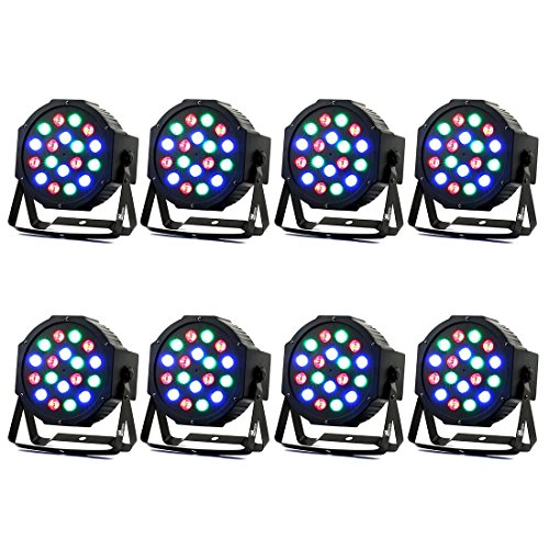 Missyee Stage lights 8 Piece Up-Lighting - Full RGB Color Mixing LED Flat Par Can - 18 LEDs per light - Red, Green and Blue color mixing - Up-Lighting - Stage Lighting - Dance Floor Lighting (Re Mini Fan)