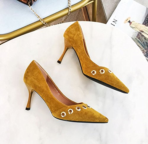 Sharp Spring Fashion Women'S Work Leisure High Heels 7Cm Rivets Ginger Heads 34 Elegant Suede Heel MDRW Shoes Shallow Shoes Lady Work Fine Single cwqIxFW0p