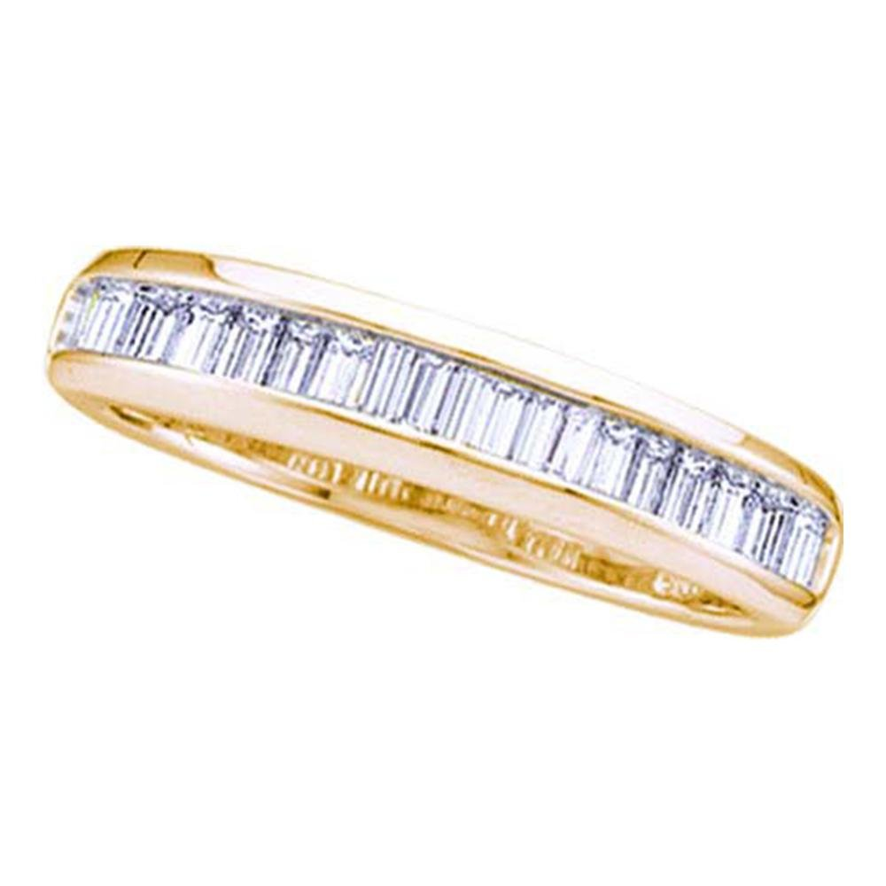Womens Baguette Diamond Wedding Band Solid 14k Yellow Gold Anniversary Ring Stackable Style Fancy 1/6 ctw