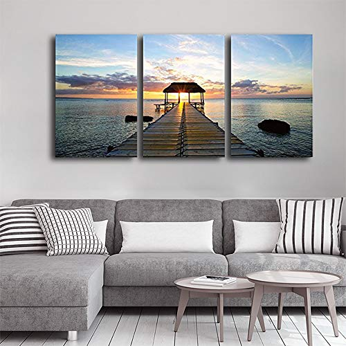 Print Contemporary Art Wall Decor Beautiful Inspiring Calmness at Sunset Artwork Wood Stretcher Bars x3 Panels
