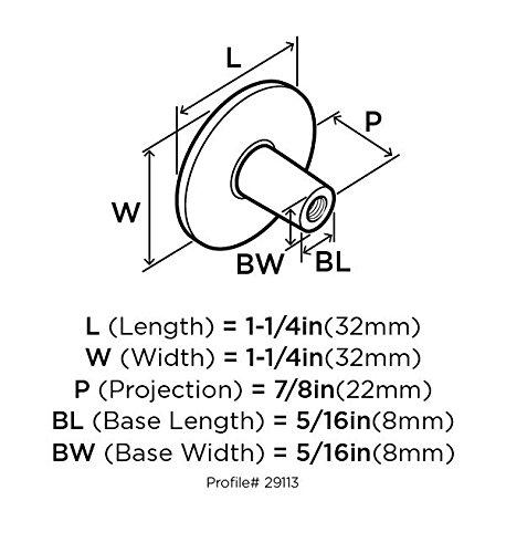 10BX29113G10 32 mm Diameter Satin Nickel Cabinet Knob Allison Value 1-1//4 in 10 Pack