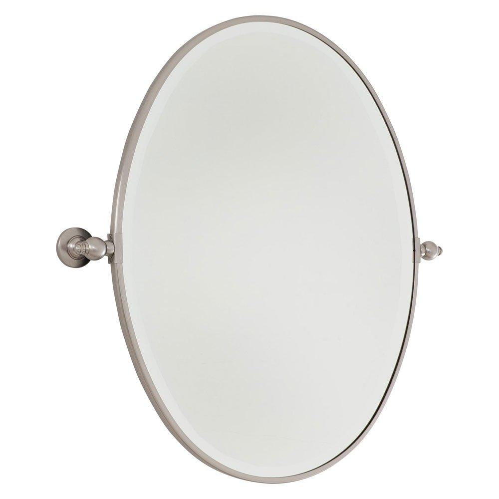 Minka Lavery 1431-84 24.5'' Oval Beveled Mirror, Brushed Nickel Finish with Excavation Glass