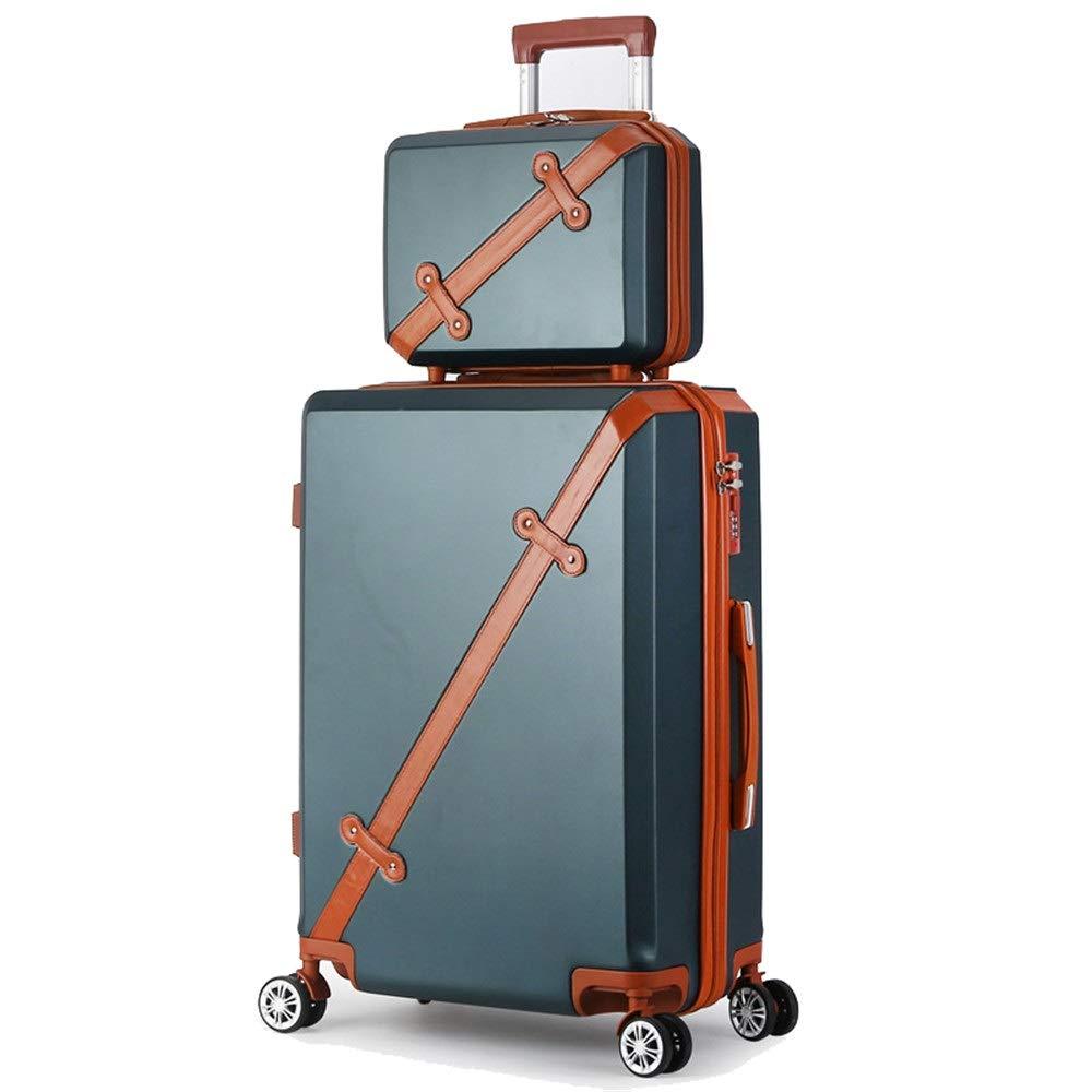 スーツケース ポータブル回転セットライトとロックハードシェル旅行荷物トロリーケース列サイレントローテーター多方向航空機搭乗 あなたとスーツケースを持っていく (色 : 緑, サイズ : 24in+14in) B07SY7RP6X 緑 24in+14in