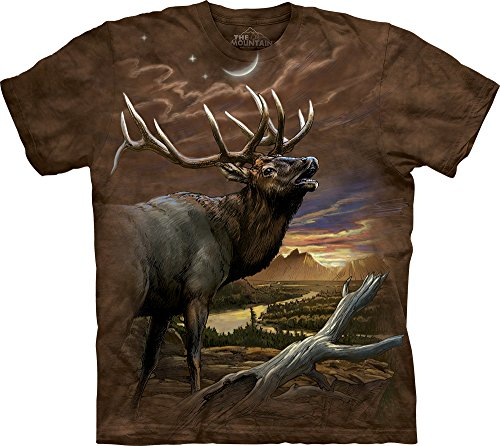 The Mountain Men's Elk At Dusk T-Shirt, Brown, - Brown Elk