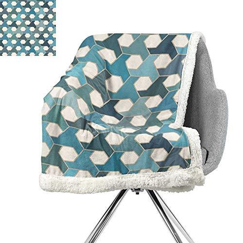 Geometric Throw Blanket,Asian Inspired Tiles Mosaic Antique Cultural Hexagonal,Eggshell Teal Turquoise Slate Blue,Warm Blanket W59xL78.7 Inch