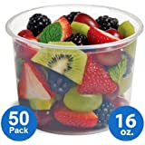Plastic Food Storage Containers with lids – Foodsavers Deli Cups / Foodsavers for Portion Control & Miscellaneous - Commercial Duty, Watertight & Leakproof (16oz, 50pcs)