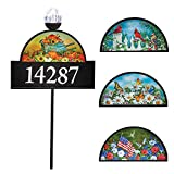 Collections Etc 4 Seasons Decorative Address Sign with Solar Light, Numbers, Home Address Plaque Garden Stake
