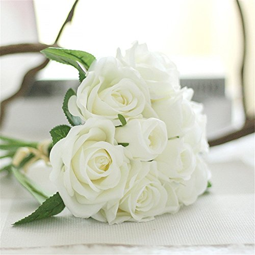 Houda Rose Artificial Flowers Bouquets, 9 Heads Fake Flowers Silk Roses Bridal Wedding Bouquet for Home Garden Party Wedding Decoration (02 ()