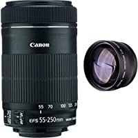 Canon 55-250mm IS STM Lens + High Definition Telephoto Auxiliary Lens