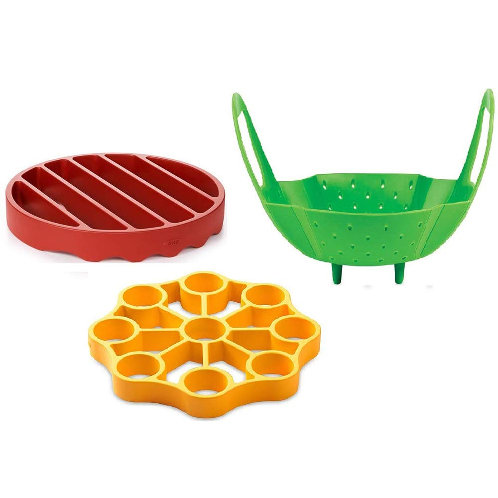 Silicone 123 Pressure Cooker Set 3 Piece Egg Steamer Basket Cooking Rack, Red Yellow Green (Trio)
