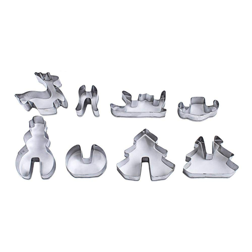 8Pcs 3D Christmas Stainless Steel Molds Scenario Cookie Cutter Set Biscuit Mould