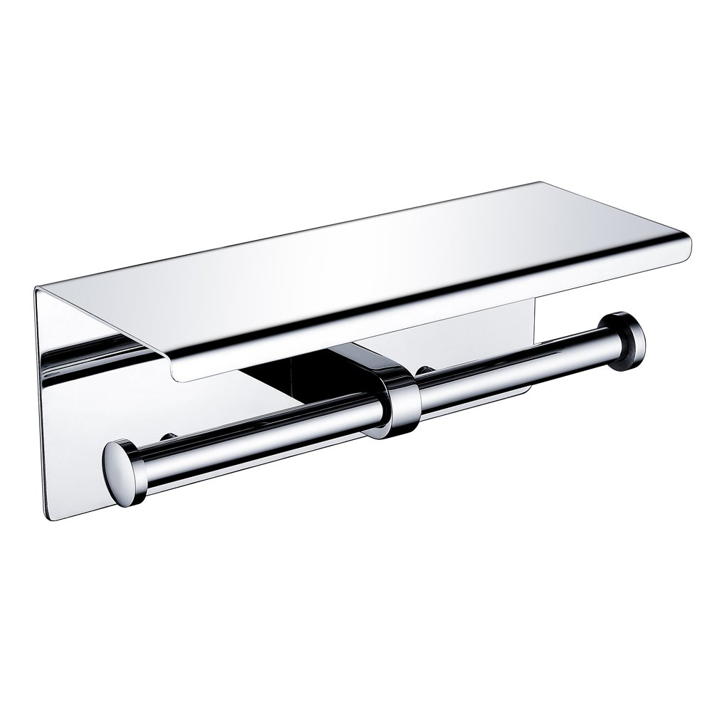 Wincase SUS 304 Stainless Steel Double Toilet Paper Holder with Storage Shelf , Wall Mounted Storage Rustproof Waterproof Bathroom Kitchen Polished Chrome Finish Dual Paper Towel Dispenser Tissue