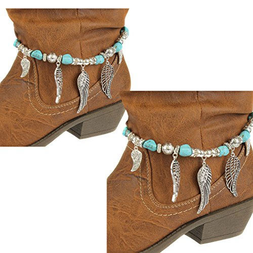 Boot Bracelet ~ Pair of Angel Wings with Crystals and Blue Beads Boot Charm Anklet (Boot Chains 066b 24)