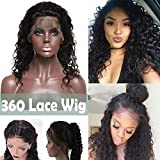 "360 Lace Wigs Curly Brazilian Human Hair Wig Deep Wave 10"" 360 Frontal Lace with Baby Hair Pre-plucked for Black Women 130% Density #1B Natural Black 360 Wig"