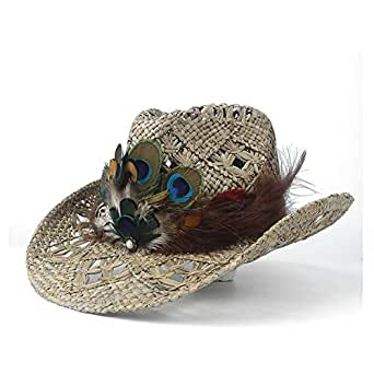 Sun Hat for men and women Women Straw Hollow Western Cowboy Hat Lady Handmade Peacock Feather Sombrero Hombre Beach Cowgirl Jazz Sun Hat (Color : Natural, Size : 56-58)
