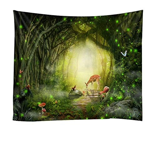 Fantasy Forest Wall Tapestry Green, Mystic Theme Woodland Trees Deer Stone Path and Mushroom Nature Plant Scene Wall Art Tapestry Backdrop Fabric Bedroom Living Room College Dorm Wall Hanging -