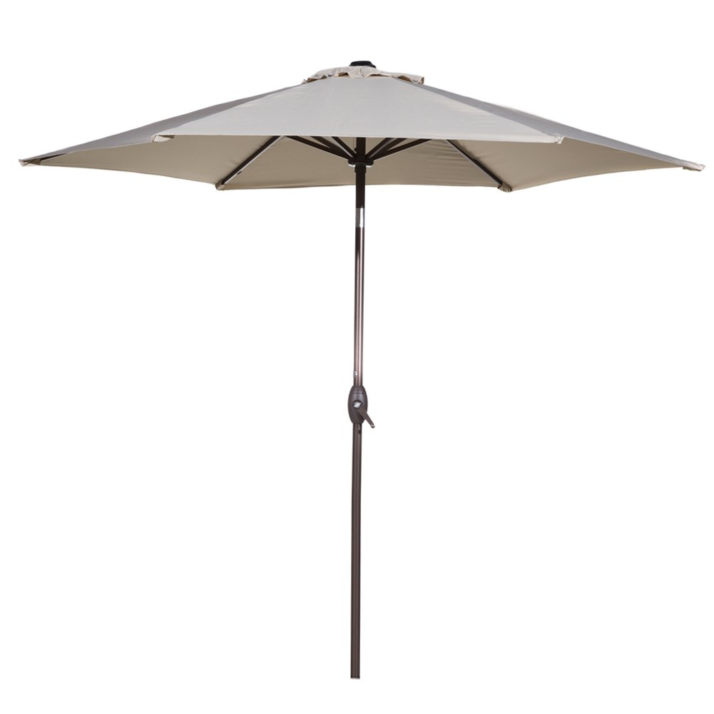 9 ft market outdoor aluminum table patio umbrella with for Patio table umbrella 6 foot