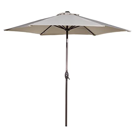 Abba Patio Outdoor Patio Umbrella 9 Feet Aluminum Market Table Umbrella  With Push Button Tilt