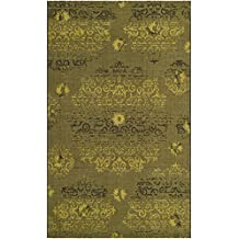 Safavieh TF204A-1215 Tabriz Floral Collection Hand-Knotted Palm and Burgundy Silk and Wool Area Rug, 12-Feet by 15-Feet