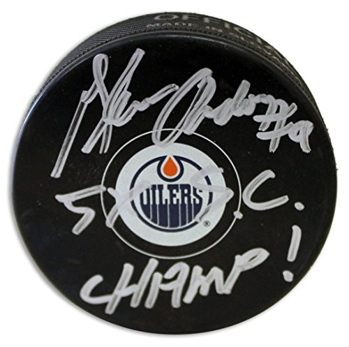 """American Athletic Glenn Anderson Edmonton Oilers Autographed Puck Inscribed """"5X SC Champ"""" Autographed - Autographed NHL Pucks"""