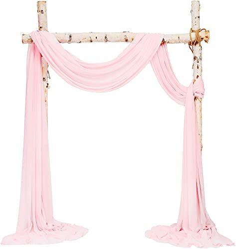 SHERWAY 2 Panels 27 x 216 Inch Pink Chiffon Fabric Drapery Wedding Arch Drapes, Party Backdrop Curtain Panels, Ceremony Reception Swag Decoration