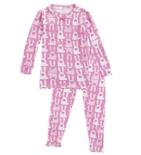 CWDKids Children's Cotton Ruffle Long Pajamas, Bunny Size 4
