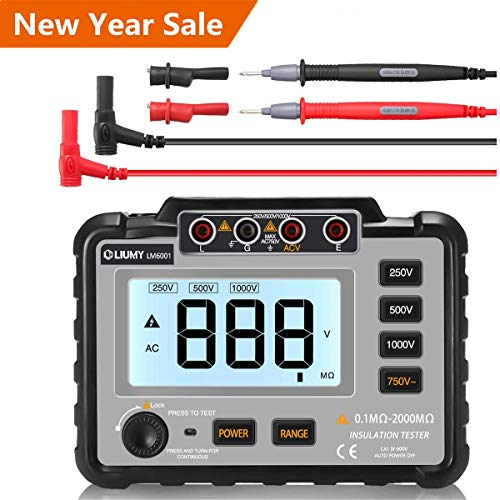 LIUMY Insulation Resistance Tester, 250V ~ 1000V Resistance Meter with Test Lead & Crocodile Clip