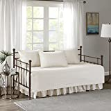 Comfort Spaces Kienna Daybed Set - Stitched Quilt Pattern - 5 Pieces - Ivory - Includes 1 Bed Spread, 1 Bed Skirt and 3 Pillow Cases