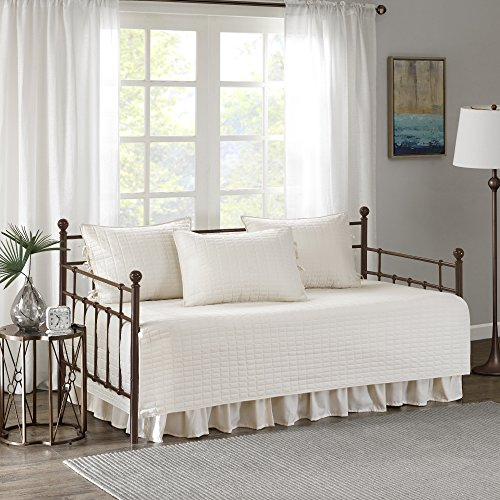 Comfort Spaces Kienna Daybed Set - Stitched Quilt Pattern - 5 Pieces - Ivory - Includes 1 Bed Spread, 1 Bed Skirt and 3 Pillow (Quilt Skirt)