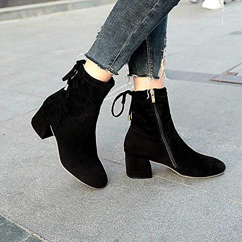 Dimensione Dimensione con Donna UK Single Nero Martin Boots Alto Alto da Boots Tacco ZHRUI Boots 4 Short Stivali Nero Thick Colore fHxwUAqZ