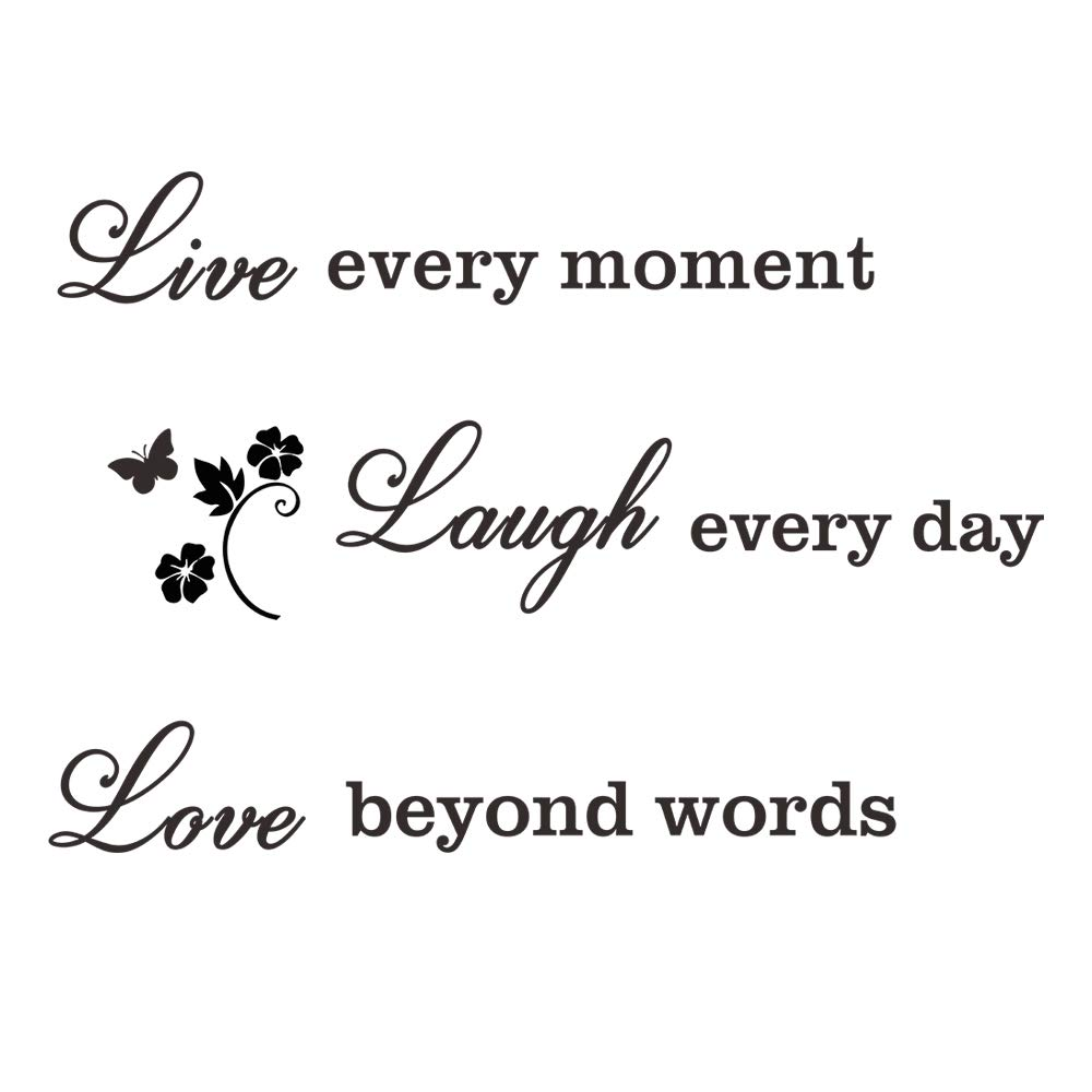 CUNYA 20x28in Love Live Laugh Inspirational Quotes Wall Decor Stickers, Large Black Removable DIY Saying Peel and Stick Wallpaper Wall Art Decals Home Decoration for Living Room, Bedroom Decor
