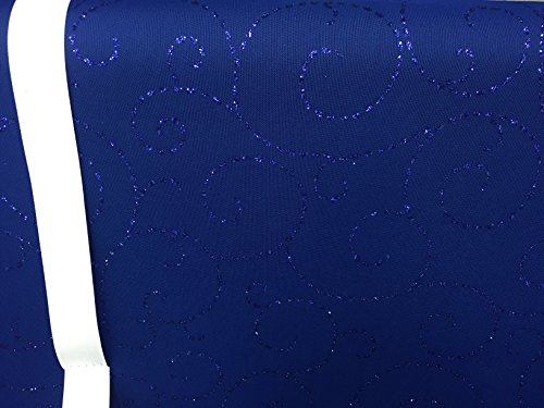 Mesh Stretch Fabric Navy Blue with Royal Blue Glitter Glitter Design , Evening , Prom Fabric ~ 2 Yds~ 58 ()