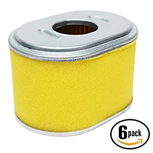 6-Pack Replacement Honda GX160K1 (Type QSC9/A)(VIN# GC02-8670001-9099999) Small Engine Air Filter - Compatible Honda 17210-ZE1 Filter