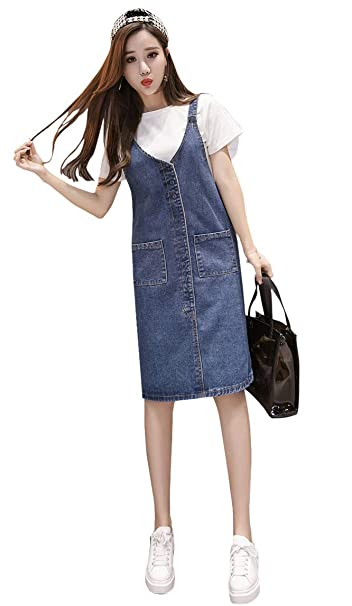 TOPJIN Plus Size Knee Length Casual Denim Jumpers Overalls ...